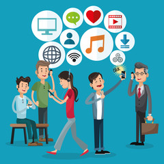 cartoons with smartphones and icon set. Mobile people theme. Colorful design. Vector illustration