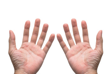 Close up Bare hands of male in isolated white background.