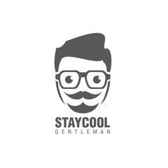hipster gentleman logo icon vector temlate