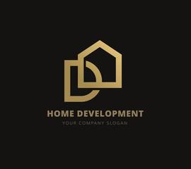 Home development logo, D logo, house logo real estate logo