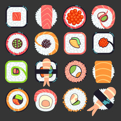 Japanese food sushi vector illustration