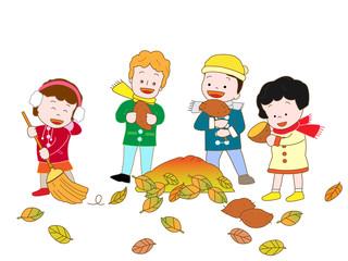 落葉の掃除で焼き芋をする