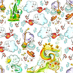 Watercolor vintage pattern with children's themes..Cloud, rain, rainbow, sun, weather, bad weather. Drawing is made in the manual for the graphics design.