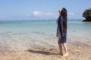 海岸線 女性ポートレイト