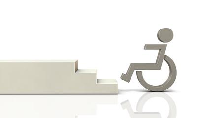 車椅子が通行できない段差を描いた3Dレンダリング画像