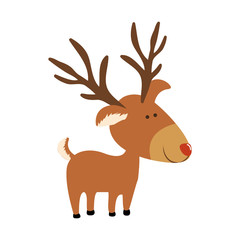 red nose rudolph deer cartoon icon image vector illustration design