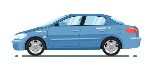 Blue comfortable sedan isolated on white background vector illustration. Modern automobile. Side view of family citycar. People transportation in flat style. Design element for your projects