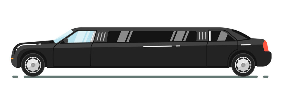 Black luxurious limousine vector illustration isolated on white background. Premium people transportation concept. Limousine service. Side view of long black limo. Vip vehicle. Design element