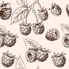 Juicy raspberries. Vector seamless pattern.Vintage style