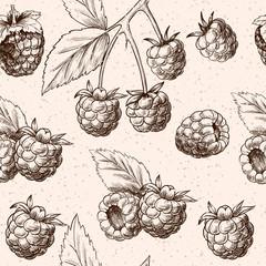 Juicy raspberries. Vector seamless pattern.Vintage style