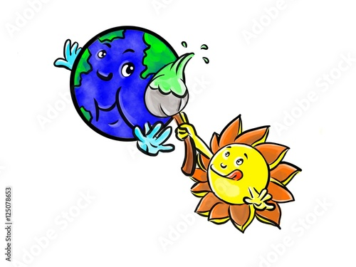 sun painting earth cartoon drawing stock photo and royalty free