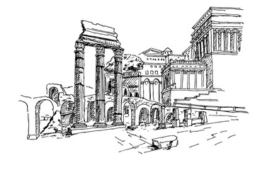Wall Mural - sketch of Foro Romano. Rome. Italy.