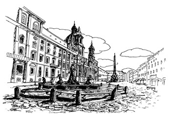 Wall Mural - sketch of Piazza Navona, Rome. Italy.