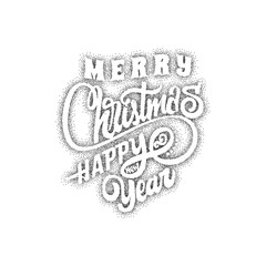 Merry christmas and happy new year 2017, hand drawn Dotwork . Handmade vector calligraphy for your design