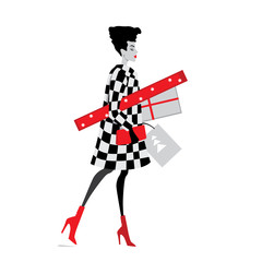 vector illustration of fashion girls with Christmas gifts, cartoon style