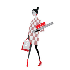 vector illustration of fashion girls with Christmas gifts