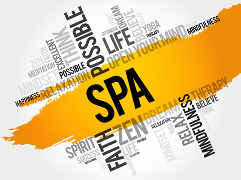 SPA word cloud collage, concept background