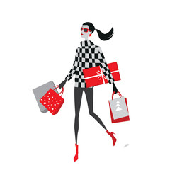 vector illustration of stylish girls with shopping bags , Christmas sale