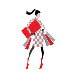 vector illustration of fashion girls with shopping bags , Christmas sale