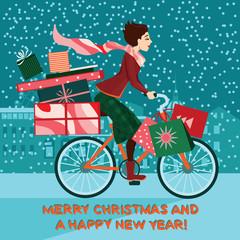 Girl on bike with gifts , Christmas sale
