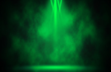 Green spotlight disco background.