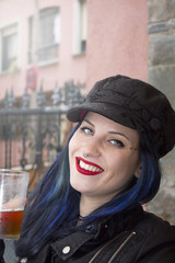 hipster woman drinking beer