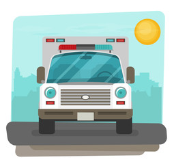 Ambulance car flat front view