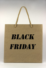 black friday brown paper bag with handles, front view, on white