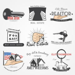 Real estate agency set. Buy, Sell and Consultancy. Detailed elements. Old retro vintage grunge. Scratched, damaged, dirty effect. Typographic labels, stickers, logos and badges.