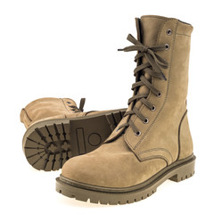 high combat boots isolated on white background.