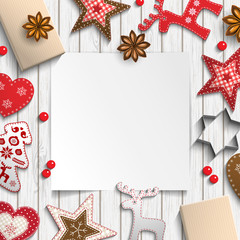 Abstract christmas background, white sheet of paper lying among small scandinavian styled decorations on wooden desk, illustration
