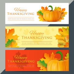 Set of happy thanksgiving day web banners. Autumn holiday vector