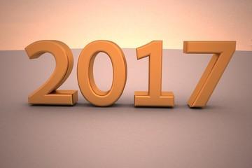 Year 2017 written in gold