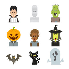 vector line icon character illustration of Halloween monster costume