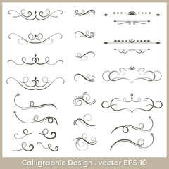 Set of hand drawn calligraphic and decorative design elements, deashes and dividers.