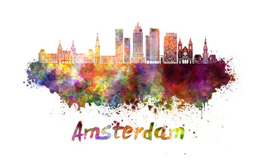 Amsterdam V2 skyline in watercolor