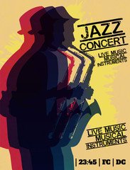 Jazz blues music concert, poster background template. Vector design poster.