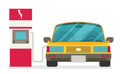 Flat vector illustration of electric car charging at the charger