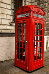 Traditional red London phone booth, London, UK