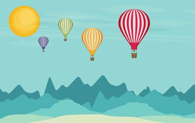 Flat design, Hot air balloon in the sky
