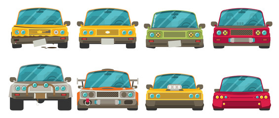 Car front view. Race car tuning set. Colorful vector