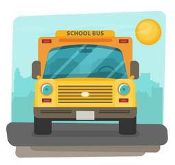 Bus school vector art. Flat style.