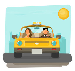 Taxi graphic design in flat style