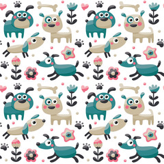 Seamless cute pattern made with dog, birds, flowers, paw, trace, plants, berries