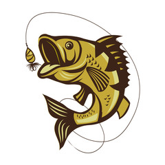 Catching Bass Fish. Vector Color Fish. Fish On A White Background. Fish On A Light Background. Bassfish, Fishing. Fish Jumping.