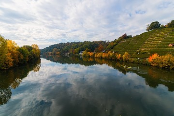 Colourful landscape at a river in Autumn