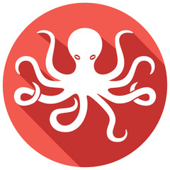 octopus and tentacles flat icon