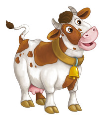 Cartoon happy cow is standing and looking - artistic style - isolated - illustration for children