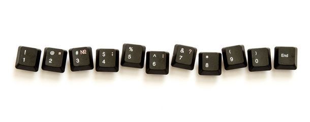 Old keyboard number keys on the white background
