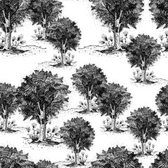 Vintage seamless pattern with a picture of the tree, group of plants, illustration made in graphics, black liner, ink. For a different design